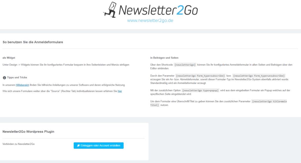 Wordpress Newsletter2go Plugin auf der Webseite installieren