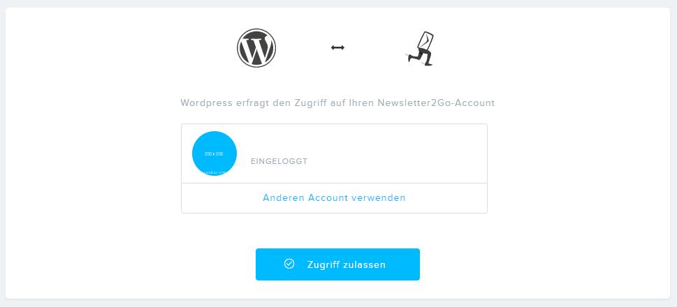Einloggen bei Newsletter2go übr das WordPress Plugin