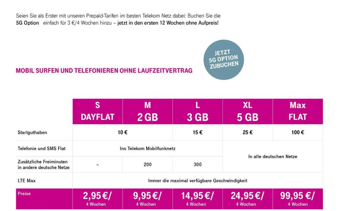 Die ersten 5G-Prepaid Tarife der Telekom